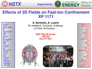 Effects of 3D Fields on Fast-Ion Confinement XP 1171