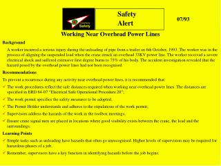 Working Near Overhead Power Lines Background