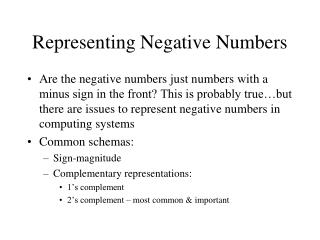 Representing Negative Numbers
