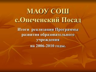МАОУ СОШ  с.Опеченский Посад