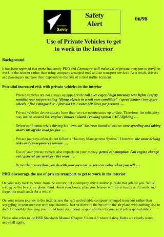 Potential increased risk with private vehicles in the interior