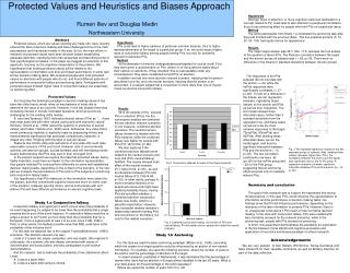 Protected Values and Heuristics and Biases Approach Rumen Iliev and Douglas Medin