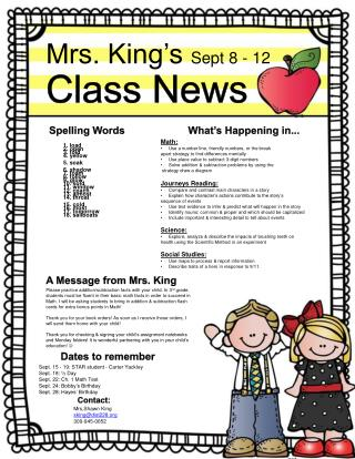 Mrs.  King's  Sept 8 - 12 Class  News
