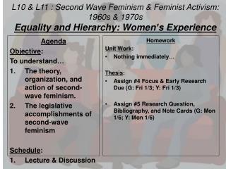 L10 & L11 : Second Wave Feminism &  Feminist Activism:  1960s & 1970s
