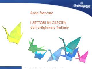 Area Mercato  I SETTORI IN CRSCITA dell'artigianato italiano
