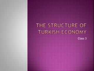 The Structure of Turkish Economy