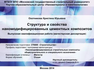Охотникова Кристина Юрьевна Структура и свойства наномодифицированных цементных композитов