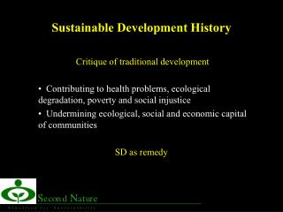 Sustainable Development History