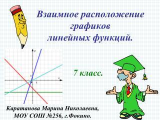 Взаимное расположение графиков линейных функций.