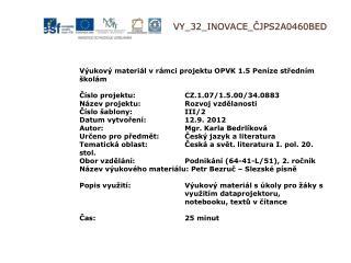 V Y_32_INOVACE_ ČJPS2A0460BED