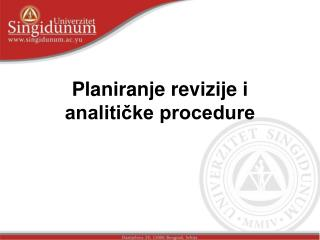 Planiranje revizije i analitičke procedure
