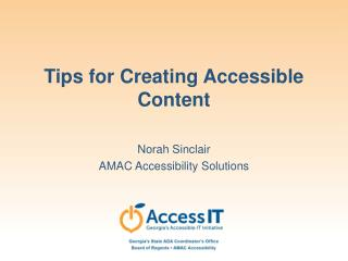 Tips for Creating Accessible Content
