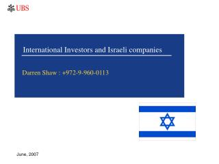 International Investors and Israeli companies