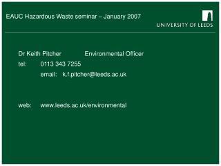 EAUC Hazardous Waste seminar – January 2007