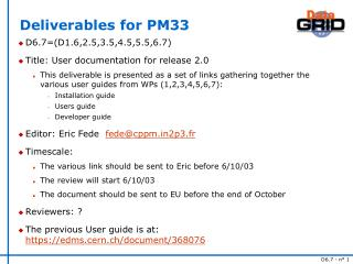 Deliverables for PM33