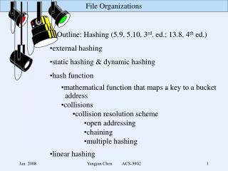 Outline: Hashing (5.9, 5.10, 3 rd . ed.; 13.8, 4 th  ed.) external hashing