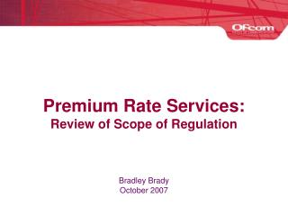 Premium Rate Services: Review of Scope of Regulation