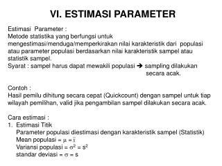 VI. ESTIMASI PARAMETER