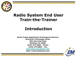 Radio System End User Train-the-Trainer Introduction