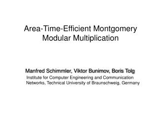 Area-Time-Efficient Montgomery Modular Multiplication