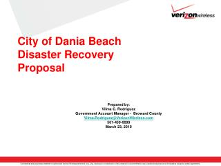 City of Dania Beach Disaster Recovery  Proposal