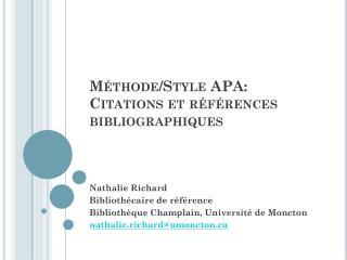 Méthode/Style APA: Citations et références bibliographiques