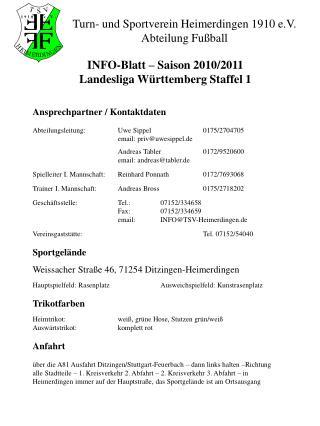 Turn- und Sportverein Heimerdingen 1910 e.V. Abteilung Fußball
