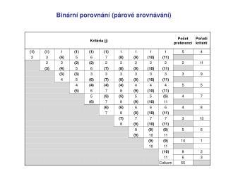 Binární porovnání (párové srovnávání)