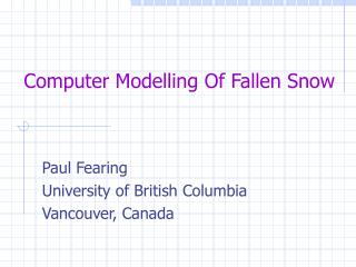 Computer Modelling Of Fallen Snow