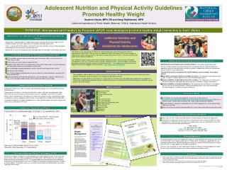 Adolescent Nutrition and Physical Activity Guidelines Promote Healthy Weight
