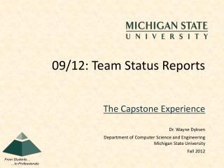 09/12: Team Status Reports