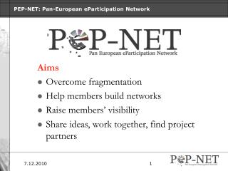 PEP-NET: Pan-European eParticipation Network