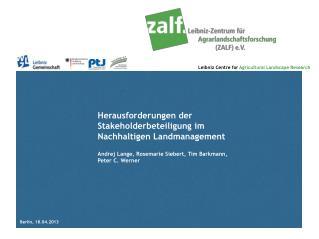 Herausforderungen der Stakeholderbeteiligung im Nachhaltigen Landmanagement