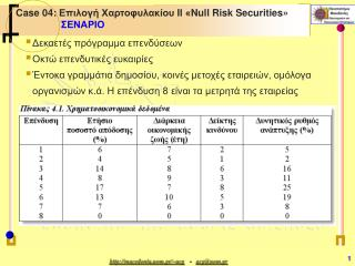 Case 04:  Επιλογή Χαρτοφυλακίου  I Ι « Null Risk Securities » ΣΕΝΑΡΙΟ