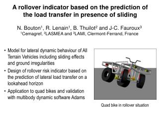 A rollover indicator based on the prediction of the load transfer in presence of sliding