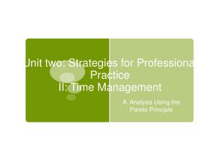 Unit two: Strategies for Professional Practice  II: Time Management