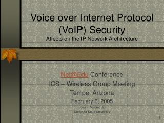 Voice over Internet Protocol VoIP Security