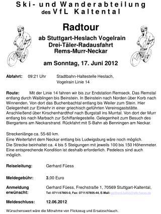 Abfahrt :     09:21 Uhr   Stadtbahn-Haltestelle Heslach,  Vogelrain Linie 14