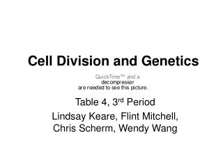 Cell Division and Genetics