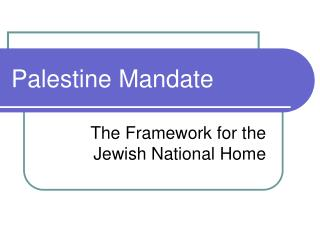 Palestine Mandate