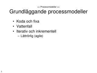 << Processmodeller >> Grundläggande processmodeller