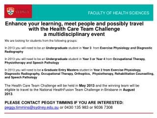 Enhance your learning, meet people and possibly travel  with the Health Care Team Challenge