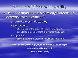 Altitude�s Effect on Humidity
