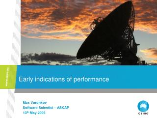 Early indications of performance