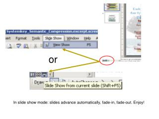 In slide show mode: slides advance automatically, fade-in, fade-out. Enjoy!