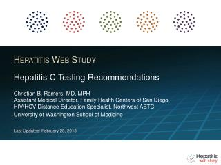 Hepatitis  C Testing Recommendations
