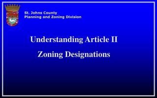 Understanding Article II  Zoning Designations