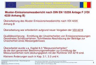Muster-Emissionsmessbericht nach DIN EN 15259 Anlage F (VDI 4220 Anhang B)