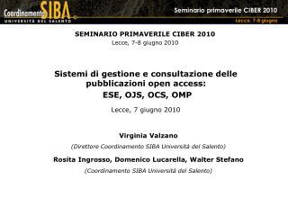 SEMINARIO PRIMAVERILE CIBER 2010 Lecce, 7-8 giugno 2010