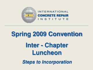 Spring 2009 Convention Inter - Chapter Luncheon Steps to Incorporation